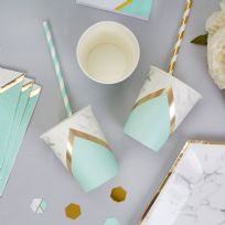 Mint Marble Paper Cups (8)